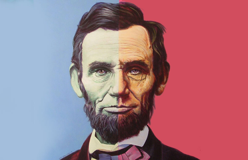 The wall depicting the US flag colors having Abraham Lincoln picture, The 16th President of the USA.